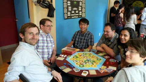 TechChange plays Settlers of Catan. Longest Roads were built, Largest Armies were created, but no friendships were destroyed.