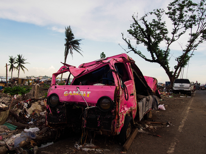 Typhoon Haiyan was deadly in two ways: what the wind couldn't destroy, the storm surge would flatten. Along the coast houses many houses were completely pulverized and cars thrown around like toys. Photo credit: Timo Luege